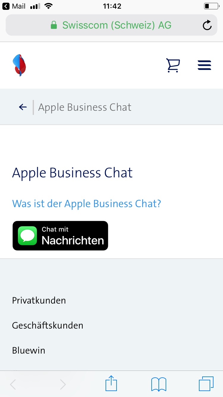 Image 1: The Contact button on the Swisscom website (JPG, 89 KB)